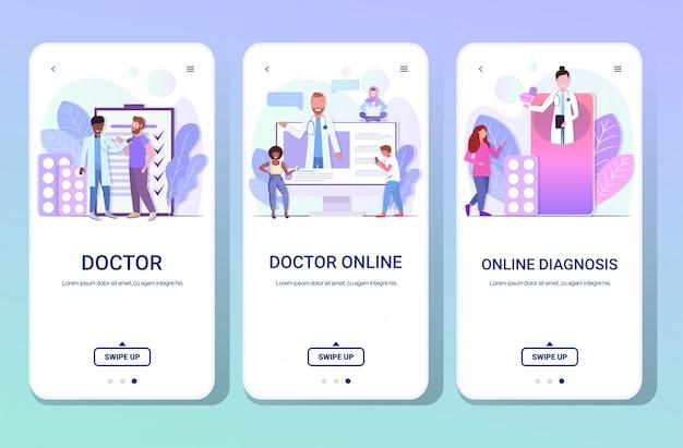 Ustawić lekarzy sprawdzanie konsultacji i dawanie leków pigułki do mieszania rasy pacjentów opieki zdrowotnej medycyny pojęcie poziome pełnej długości ekrany telefonu kolekcja kopia przestrzeń