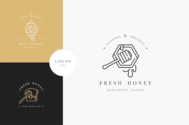 Ustawić logo ilustrujące i szablony projektów lub odznaki. etykiety na miód ekologiczny i ekologiczny oraz tagi z pszczołami. liniowy styl i złoty kolor.