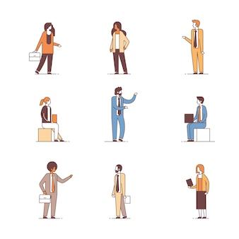 Ustawić ludzi biznesu różnych pracowników biurowych koncepcji mężczyzna kobieta kreskówka postać pełnej długości linii kolekcji na białym tle
