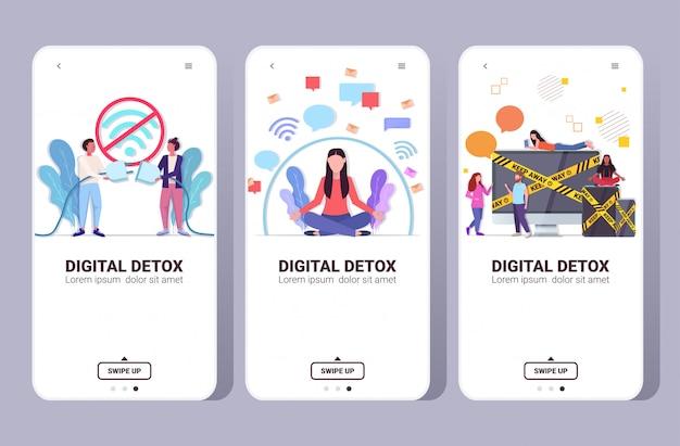 Ustawić ludzi spędzających czas bez urządzeń cyfrowy detoks koncepcja kobiety mężczyźni rezygnujący z gadżetów