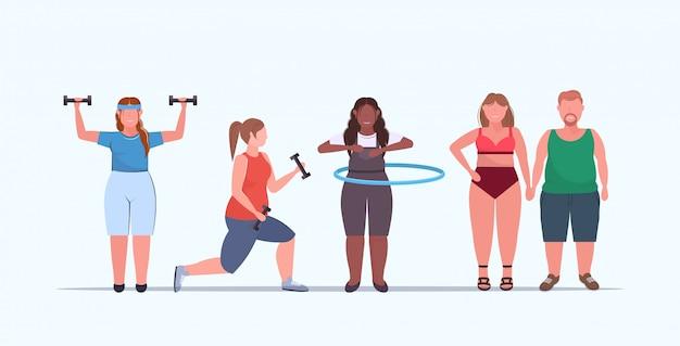Ustawić ludzi wykonujących różne ćwiczenia fizyczne mieszać nadwagę mężczyzn kobiet trenujących treningu utrata masy ciała koncepcja płaskie pełnej długości poziomej
