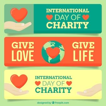 Ustawić międzynarodowe banery dzień charytatywny