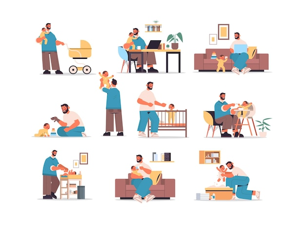 Ustawić młody ojciec bawiący się z małym synem koncepcja ojcostwa tata spędzający czas ze swoim dzieckiem na całej długości poziomej ilustracji wektorowych