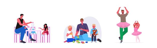 Ustawić młody ojciec spędzający czas ze swoimi dziećmi na poziomej koncepcji rodzicielstwa