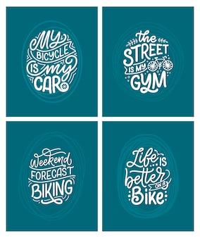 Ustawić napisowe slogany dotyczące roweru