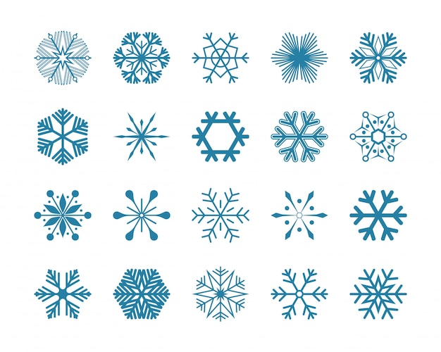 Ustawić niebieskie płatki śniegu wektorowe ikony ilustracja na białym tle