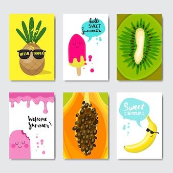 Ustawić odznakę egzotycznych owoców cytrusowych na białym tle typograficzne