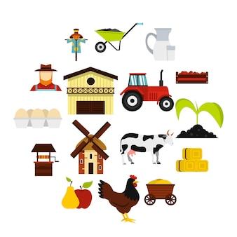 Ustawić płaskie ikony farmy