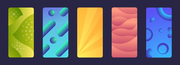 Ustawić płynne gradienty neonowe płynny kolor geometryczny streszczenie tło dynamiczne płynne kształty mobilne ekrany kolekcja poziome