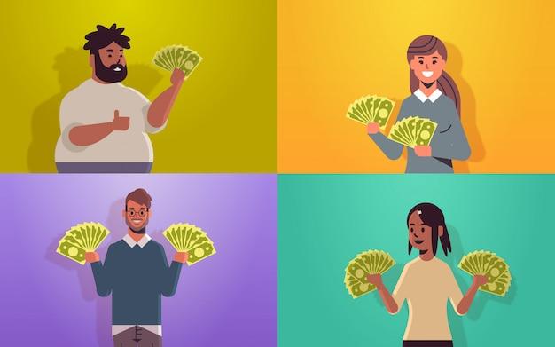 Ustawić podekscytowanych ludzi posiadających rachunki za pieniądze sukces finansowy koncepcja bogactwa wesoły mężczyzn kobiet z banknotów dolara poziome portret