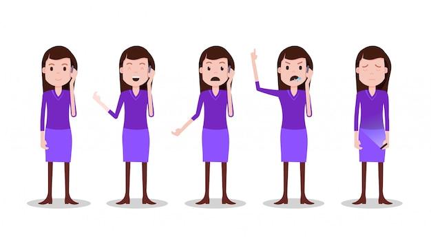 Ustawić postać nastolatka różne pozy i emocje telefon kobieta