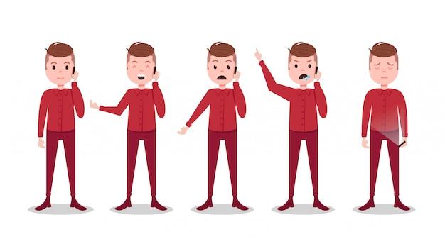 Ustawić postać teen boy różne pozy i emocje telefon mężczyzna czerwony garnitur