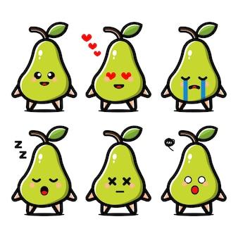 Ustawić postać z kreskówki ładny owoc gruszki z ekspresją