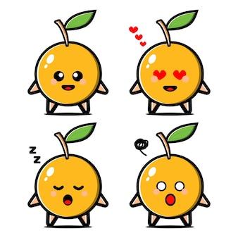 Ustawić postać z kreskówki ładny pomarańczowy owoc z ekspresją