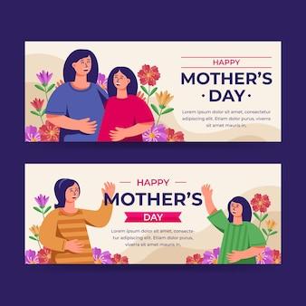 Ustawić poziome banery płaskie dzień matki