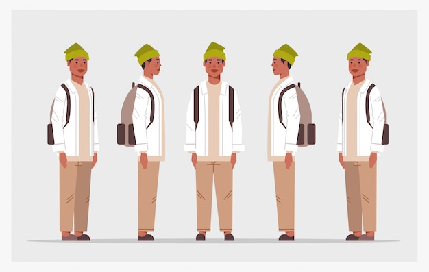 Ustawić przypadkowy facet widok z przodu mężczyzna postać różne widoki dla animacji pełnej długości poziomej