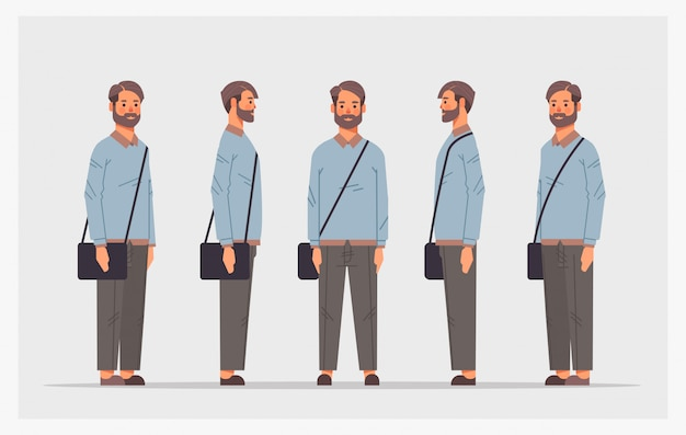 Ustawić przypadkowy mężczyzna widok z przodu mężczyzna postać różne widoki dla animacji pełnej długości poziomej