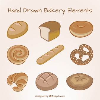Ustawić ręcznie rysowane elementy pieczywo