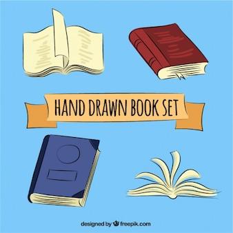 Ustawić ręcznie rysowane książki