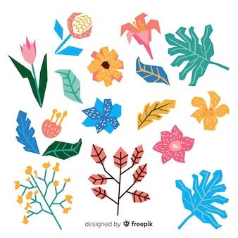 Ustawić ręcznie rysowane kwiaty i liście