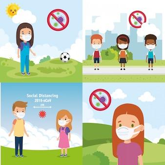 Ustawić sceny dzieci za pomocą maski ilustracji projektowania