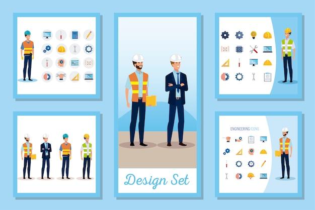 Ustawić sceny inżynierów mężczyzn z działającymi ustawionymi ikonami