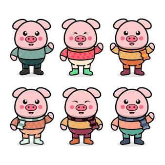 Ustawić śliczną świnię z jesienną ilustracją koncepcji