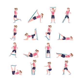 Ustawić sportowy kobieta robi różne ćwiczenia z oporem zespół dziewczyna trening w siłowni rozciąganie treningu koncepcja zdrowego stylu życia białe tło