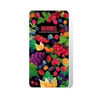Ustawić świeże soczyste jagody kompozycja zdrowe pojęcie naturalnej żywności smartphone ekran aplikacja mobilna pionowe miejsce