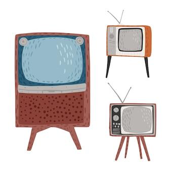 Ustawić telewizory retro na białym tle. vintage telewizory wysokie, krótkie i szerokie z anteną ręcznie rysowane w stylu doodle
