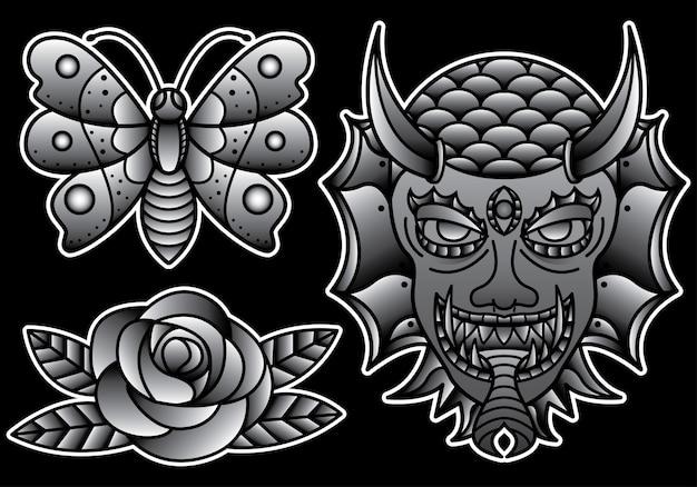 Ustawić tradycyjny tatuaż flash