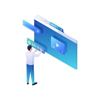 Ustawienie dźwięku na ilustracji izometrycznej wideo online. męska postać dostosowuje wyszukiwanie ścieżek audio do żądanego segmentu wideo na stronie. nowoczesne programy pracujące z koncepcją multimedialną.