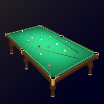 Ustawienie kulek bilardowych na realistycznym stole bilardowym z kijami.