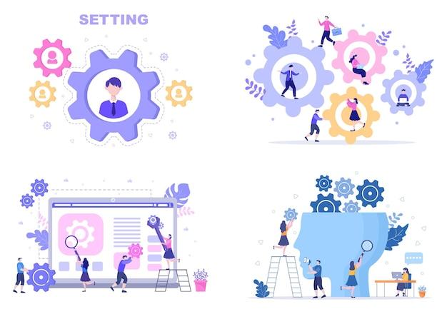 Ustawienie płaska konstrukcja ilustracja