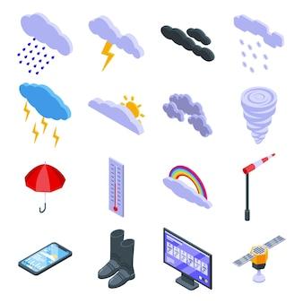 Ustawiona pochmurna pogoda. izometryczny zestaw pochmurnej pogody do projektowania stron internetowych na białym tle