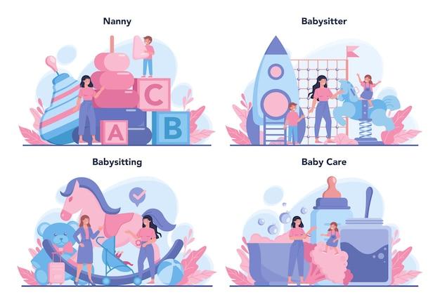 Ustawiona usługa opiekunki do dziecka lub koncepcja agencji niania opiekunka do dziecka w domu