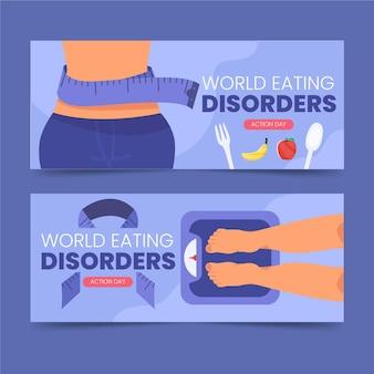 Ustawione banery dnia akcji zaburzeń odżywiania płaskiego świata