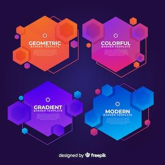 Ustawione banery gradientowe i nowoczesne