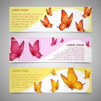 Ustawione banery motyle
