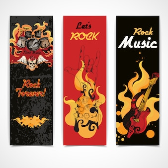 Ustawione banery muzyki rockowej
