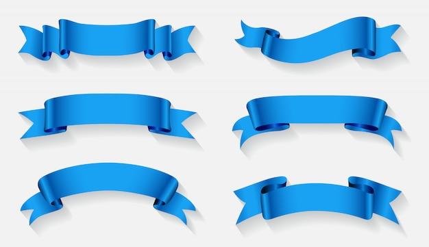 Ustawione banery niebieskiej wstążki