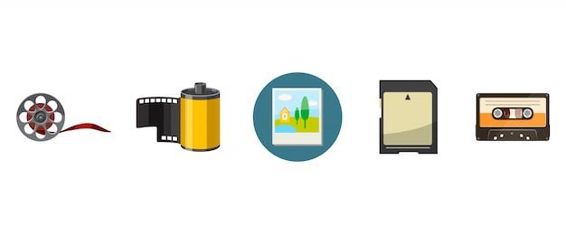 Ustawione elementy przechowywania informacji. zestaw kreskówka przechowywania informacji