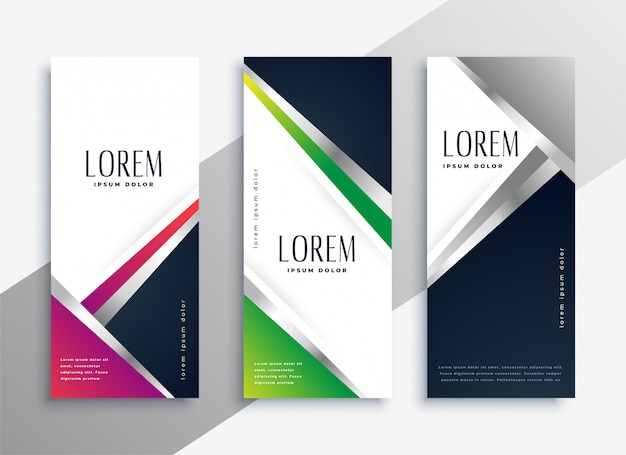 Ustawione geometryczne nowoczesne pionowe banery
