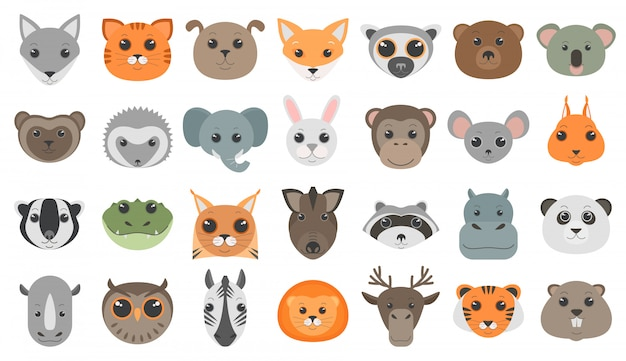 Ustawione głowy zwierząt kreskówek.