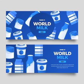 Ustawione gradientowe poziome banery światowego dnia mleka