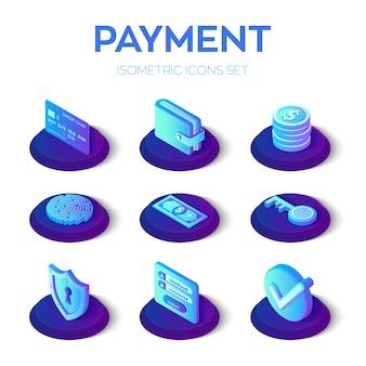 Ustawione isony płatności internetowych. izometryczne płatności mobilne 3d ikony.