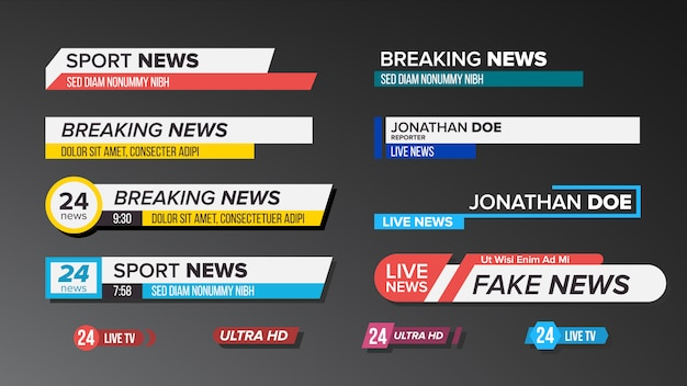 Ustawione paski wiadomości telewizyjnych