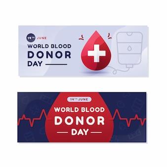 Ustawione płaskie światowe banery dnia dawcy krwi