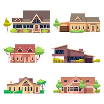 Ustawione prywatne domy mieszkalne. ilustracja kolorowy płaski wektor. kolekcja domków letniskowych
