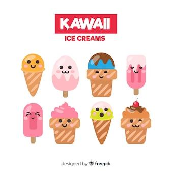 Ustawione ręcznie rysowane kawaii lody znaków